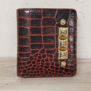 Henri Bendel Black and Red Mini Button Lock Wallet